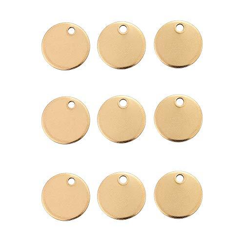 DanLingJewelry 304 RVS Blank Stamping Tag Platte Ronde Bedels Glad Oppervlak Hangers voor Armband Oorbel Ketting Hanger Bedels (Golden Color-100pcs, 12 x 1mm, Gat:1.5mm)