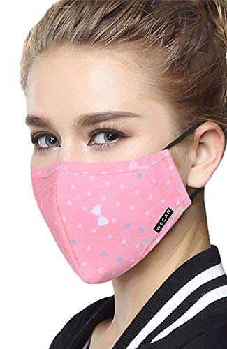 Face Mask with 2 Filters, Washable Reusable Anti Dust Anti-Haze Cotton Mask, Pink Bow Breathable Balaclavas for Cycling Camping Running Travel