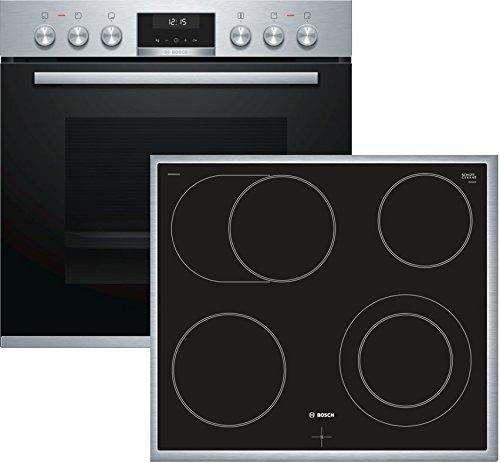 Bosch HND611LS65 Herd-Kochfeld-Kombination (Einbau) / A / 59,4 cm / Edelstahl / Klapptür / LCD-Display / GranitEmail / Elektrokochfeld (herdgesteuert) / 4 HighSpeed-Kochzonen / Umlaufender Rahmen