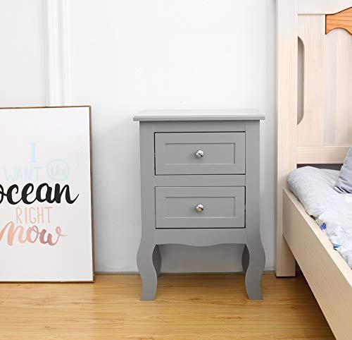 woodluv 2 Drawer Bedside Table Cabinet Drawers Side Storage Unit, Grey