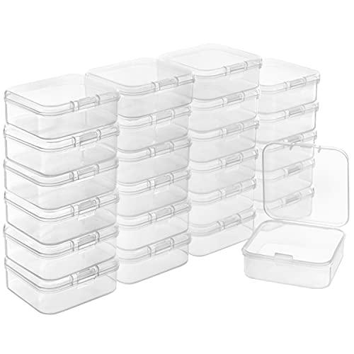 BELLE VOUS Caja Plastico Almacenaje Transparente con Tapa de Bisagra (Pack de 24) 5,3 x 5,3 x 1,7 cm – Caja Organizadora Plastico – Mini Recipiente Pastillas, Cuentas, Joyas, Artículos Manualidades
