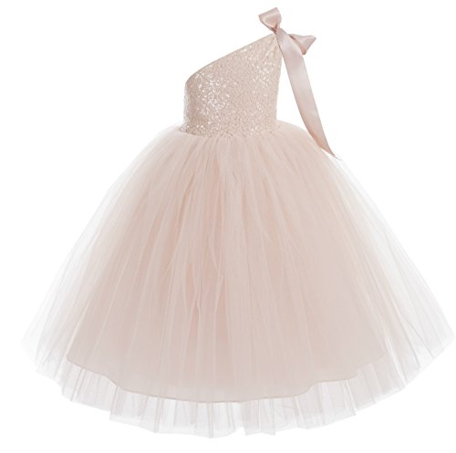 ekidsbridal One-Shoulder Sequin Tutu Flower Girl Dress Wedding Pageant Dresses Ball Gown Tutu Dresses 182 2 Blush Pink