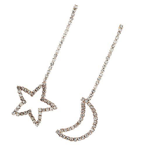 Hellery Pendientes de Estrella de Colgante de Cadena Larga de Diamantes de Imitación Pendientes de Oreja de Ahuecados - Oro