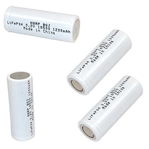 HQRP Battery 4-Pack IFR-18500 18500 Compatible with LED Flashlight Torch, Security System Panels Rechargeable 1200mAh 3.2v LiFePO4 Lithium Phosphate + HQRP Coaster