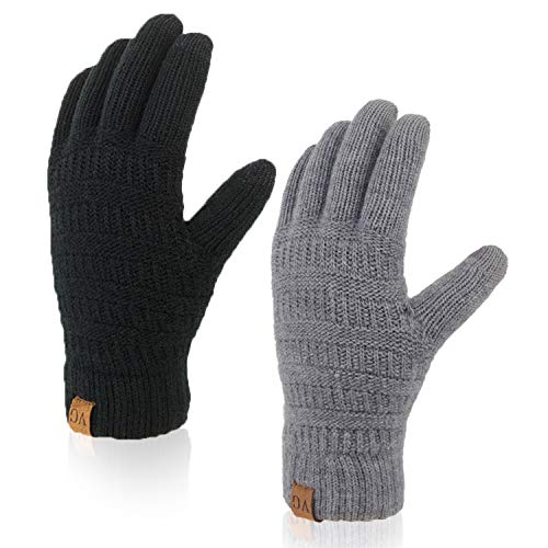 Opopark 3 Pairs Winter Touch Screen Gloves Warm Knitted Gloves Typing Texting Gloves Super Soft Thick Fleece Gloves Outdoor Windproof Driving Gloves for Men and Women All-Hand Use