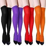 SATINIOR 4 Pares de Calcetines de Tubo a la Rodilla de Mujer Elástico Medias Altas Calcetines Casual Para Niñas