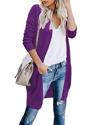 CPOKRTWSO Womens Petite Shrug Sweater Long Knit Cardigan Coats Purple L