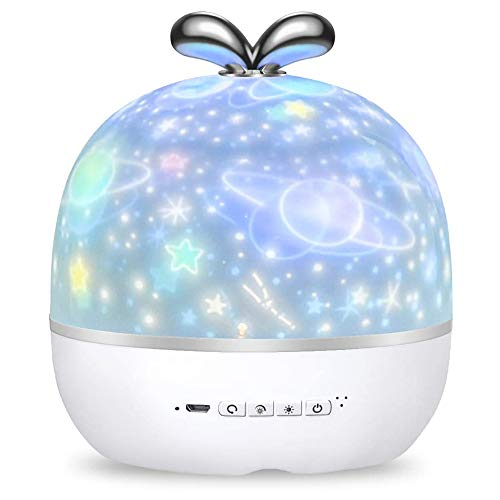 ShangSky Lámpara de Proyector Infantil 360 Grados de Rotación Luz de Noche para Bebés con 6 Temas