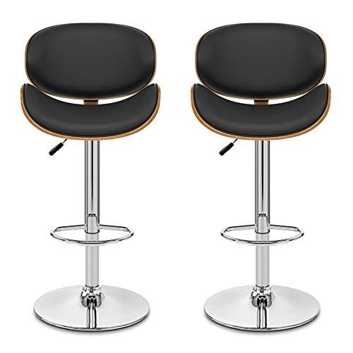 Pectt Juego de 2 taburetes de barra de altura ajustable, sillas giratorias con reposapiés y respaldo, taburetes modernos de piel sintética para bar sala de estar