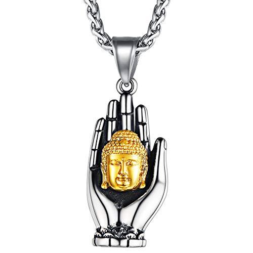 FaithHeart Palma Mano Cabeza Budista Colgante Acero Inoxidable Plateado Oro Amarillo 18K Cadena Espiga Trigo Joyería Budista Talismán Igualdad