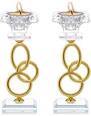 Sziqiqi 2 Piezas de Candelabros de Cristal y Hierro de 3 Anillos con Vástago Dorado con Vela Cuadrada en Forma de Vela Cónica y Candelita, 16.5 cm de Alto