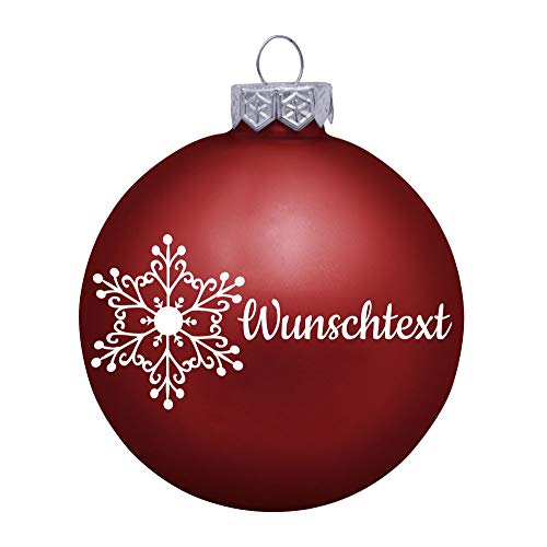 Deitert Weihnachtskugel mit Wunschtext Gravur, Ø 8cm, personalisierte Christbaumkugel aus Glas (matt), Individueller Weihnachtsbaumschmuck Namen oder Spruch, Schneeflocken-Motiv, Rot