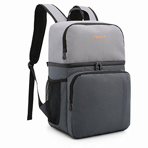 TOURIT Kühlrucksack Lunch Tasche Doppelte Schicht Wasserabweisend Kühltasche Rucksack für Arbeit, Business Trip, Reisen, Camping, Wandern Grau