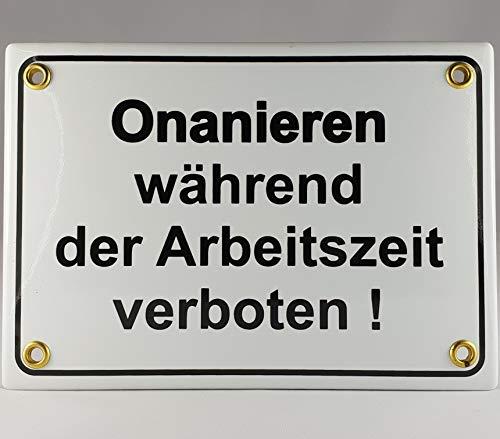 A.G.S. Emaille Schild Handarbeit Nr.2 - Onanieren während der Arbeitszeit verboten
