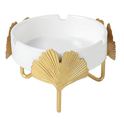 YIXIA Nordic Iron Art Ginkgo Leaf Creative Persönlichkeit Trend Aschenbecher Büro Schreibtisch Asche Lagerung Keramik Aschenbecher Home Handwerk Ornamente Aschenbecher Dekoration One by One
