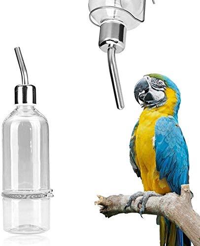 Alimentador de agua del loro Mascota que cuelga Botella de alimentación de agua No dispensador de goteo Suministros para mascotas con niple de bola de acero inoxidable para animales pequeños(S)