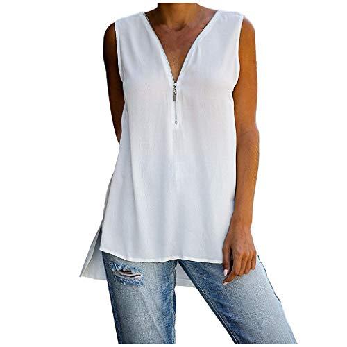 Auifor vrouwen Zip V Neck Crisscross T-shirt blouse casual mouwloze tank top zomer shirts