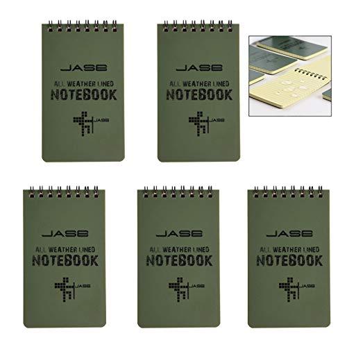 XLKJ Impermeabile per Appunti,5 pezzi Blocchi Note a Spirale Blocchi Appunti e Taccuini,Formato Tascabile (Verde)