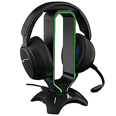 G-LAB K-Stand RADON Gaming Headset Stand - RGB Backlight, USB HUB 2 x 2.0, Anti-Slip Base - Universal Stand for PC PS4 Xbox One Nintendo Switch Gaming Headset (Black) from AXS