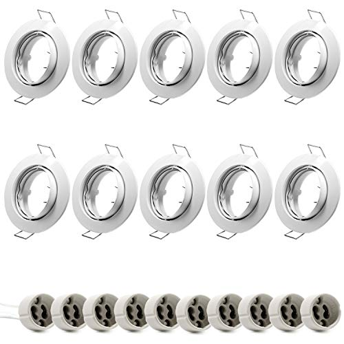Juego de 10 anillos empotrables GU10, color blanco, orientables, marco redondo, incluye portalámparas GU10 para bombillas LED o halógenas