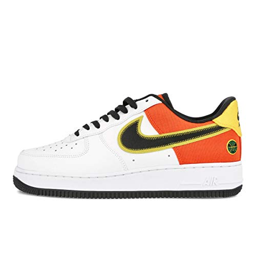 Nike Zapatos Hombre Air Force 1 Bajo Roswell Raygun CU8070-100, (Blanco/Negro/Naranja Flash/Amarillo),...