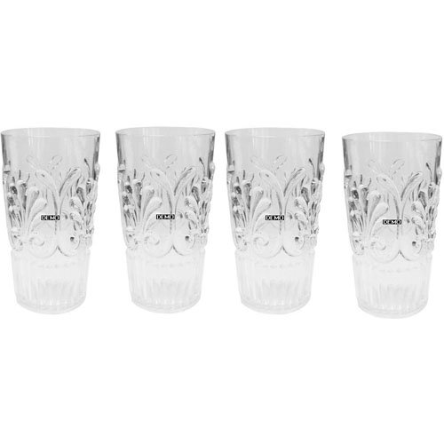 Set of 4 Le Cadeaux Break Resistant Drinkware Highball or Ice Tea Glasses, Clear