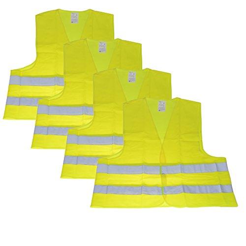 4er Set Warnweste Unfallwesten Neon Gelb Sicherheitswarnweste Warnwesten KFZ nach DIN EN ISO 20471