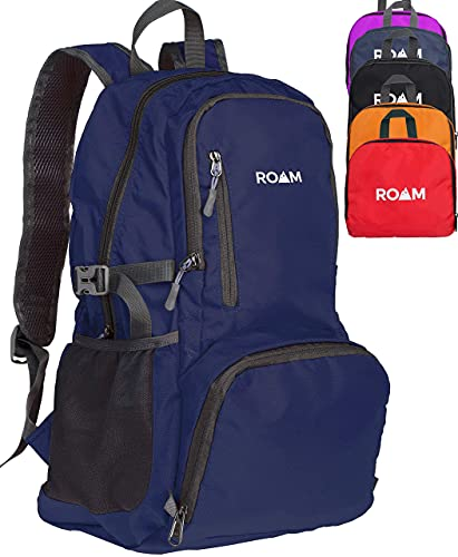 Roam 25L Hiking Daypack, Lightweight Packable Backpack, Rainproof, for Travel, Camping, Foldable, Durable, Water Resistant Ultra Light - Navy