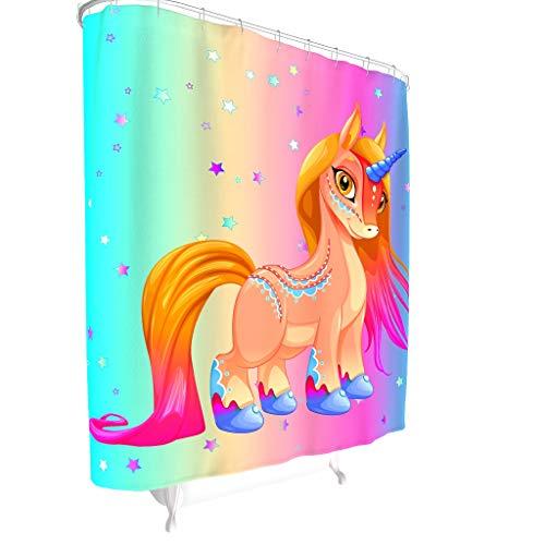 Dofeely Unicorn Muster Duschvorhänge Wasserabweisend Top Qualität Shower Curtain Badewannenvorhang mit inkl Duschvorhangringen White 180x180cm