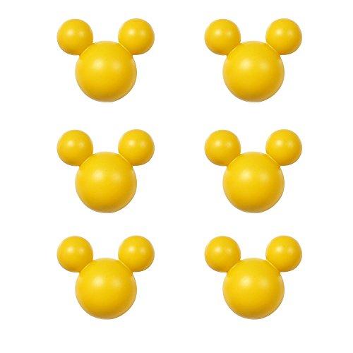 アルファタカバ ディズニー ミッキー取っ手シリーズ ツマミつまみ 6個セット イエロー