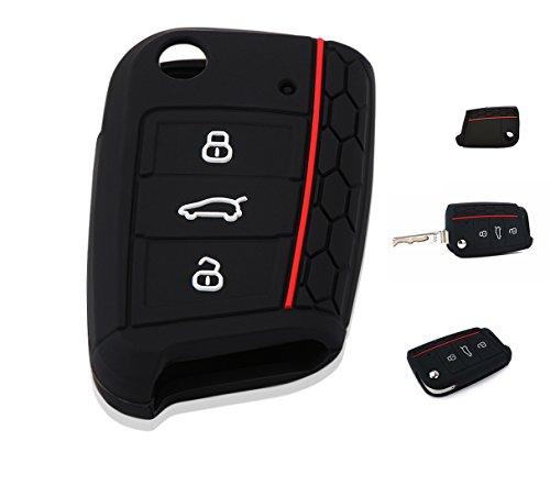Cover Custodia Silicone per Chiave 3 Tasti Volkswagen Golf 7 Polo Tiguan Seat Skoda Guscio Morbido Protezione Telecomando Auto MK7
