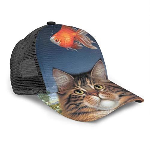 Unisex Baseballkappe Wildlife Art Katze Futter Heute Goldfisch Katatonischer Sonnenuntergang 3D Druck Snapback Caps Verstellbare Mesh Hut Trucker Hats Schwarz