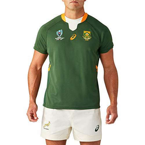2019 Südafrika Springboks Rugby Jersey, Herren Rugby-Weltmeisterschaft Baumwolle Jersey Grafik T-Shirt, Home/Away Rugby-Fans Hemd, 100% Polyester Atmungsaktives St Home-XL