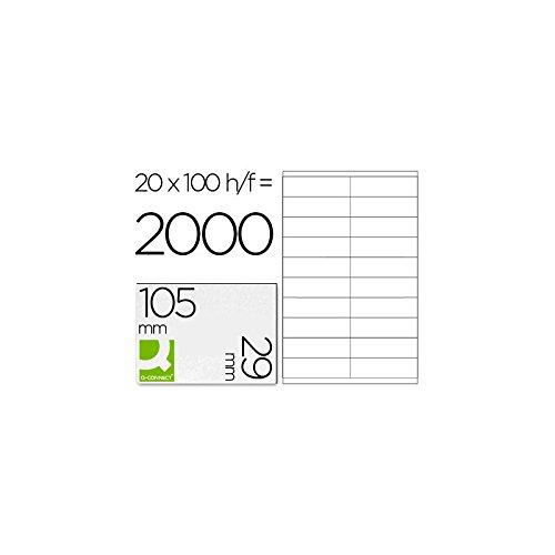 Q-Connect - Lot de 2000 Etiquettes Adhésives Coins Droits Imprimante Jet Encre Laser Copieur Boîte 100 feuilles 105 x 29 mm Assorties 926476