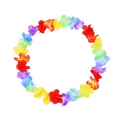 ExeQianming Hawaiian Leis Luau Flower Garland for Dress, Party Necklace and Beach, 2pcs