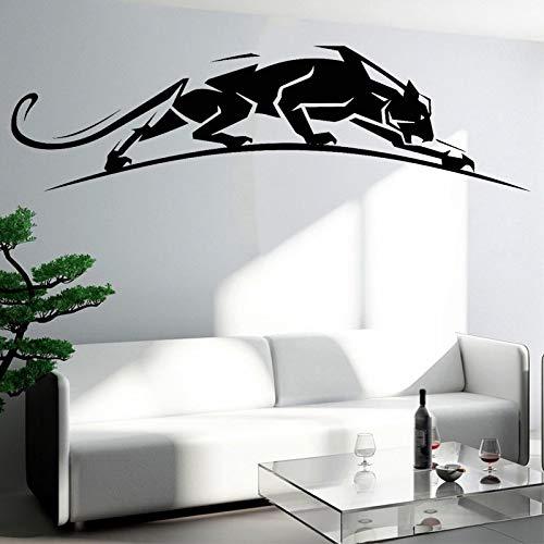 Ofomox Pegatinas de Pared de Leopardo geométricas calcomanías de Leopardo de Animales depredador Pegatinas de Leopardo decoración del hogar de Animales decoración de la Sala de Estar 56x15cm