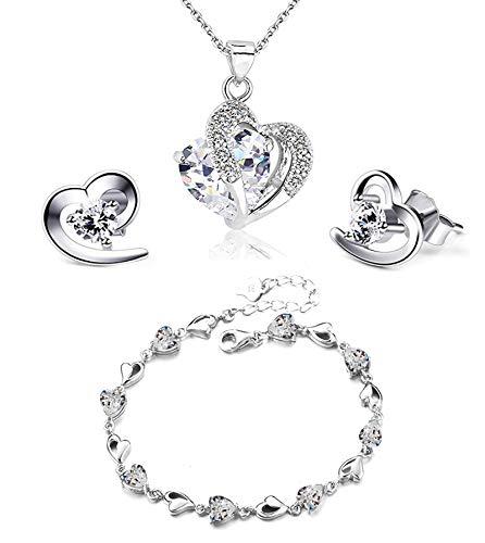 Findout, set bracciale + orecchini + collana con pendente a cuore in cristallo e ametista rossa, rosa, blu, bianca, per donne e ragazze. e Argento, colore: 497 New White Bracelet Uk, cod. f497