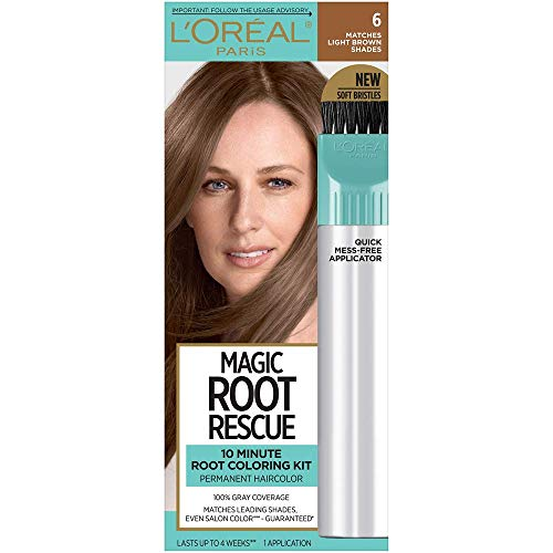 L'Oreal Paris Magic Root Rescue 10 Minute Root Hair Coloring Kit, Permanent Hair Color with Quick Precision Applicator, 100% Gray Coverage, 6 Light Brown, 1 kit (Packaging May Vary)