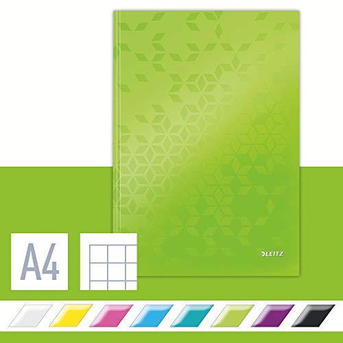 Leitz Cuaderno A4 con Tapas Rígidas, Verde, 80 Hojas, Cuadriculado, Papel de Marfil de 90g/m², Gama WOW, 46261254