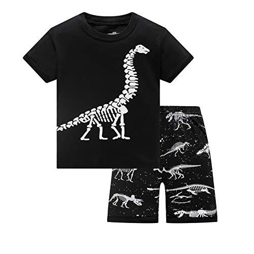 DAWILS Jungen Schlafanzug Kurz Kinder Sommer Pyjama Kurz Dinosaurier Zweiteiliger Nachtwäsche 140