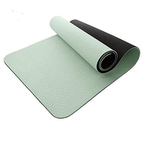 8bayfa Zweifarben-Anti-Rutsch-Gesicht Yoga-Matte Verbreiterte verdickte Sport Fitness Sit-up Trainingsmatte Geeignet for Männer und Frauen Anfänger.1211 (Color : Green, Size : 8mm)