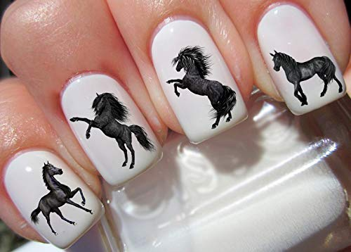50 Black Horses Nail Art Decal