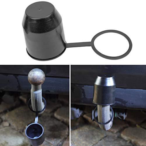 Universal Anhängerkupplung Abdeckung mit Sicherungsring, für Kugelkopfkupplungen mit 50 mm Durchmesser, geht nicht verloren, aus flexiblem Kunststoff schwarz, Witterungsbeständig und Waschanlagen-fest