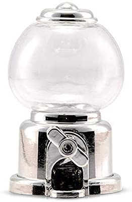 JM Weddings Mini Gumball Machine Party Favor - Silver (Pack of 2)