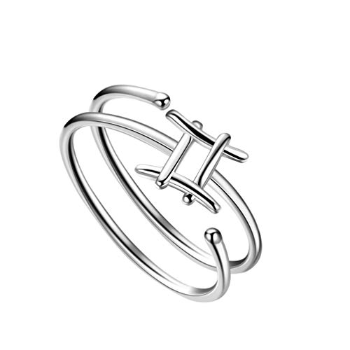 Besilver Gemini Zodiac Sign Ring 925 Sterling Silver 12 Constellation Jewelry Great Gift BFF Anniversary Promise Ring Partty Casual Wear Ring FR0002G