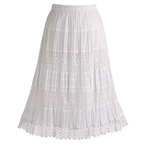 CATALOG CLASSICS Women's Lacy White Peasant Skirt - Tea Length Crinkle Cotton Bottom - 26\