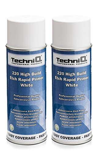 TechniQ 220 High Build Etch Rapid Primer Acid Etch Primer Acid Etch Primer 400 ml Spray Weiß x 2 Dosen