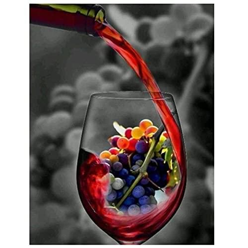 Diamond Painting Kit Completo Square Taladro Copa de vino tinto Bricolaje 5D Cristal Grande Bordado de Punto de Cruz Artes Lienzo Artesanías para Decoración de Pared del Hogar(60x90cm,24x36in)