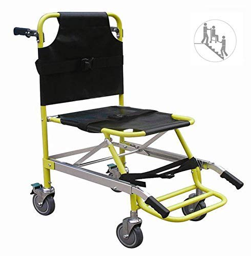 Silla de Aluminio Ambulancia de Peso Ligero Elevador médico, Transporte de Pacientes paramédicos Silla de evacuación con 4 Ruedas, Capacidad de Carga: 400 LB