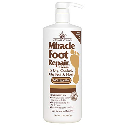 Miracle Foot Repair Cream | 32 Ounce Bottle | 60% Pure Aloe Vera Gel | Fast Relief for Dry, Cracked, Itchy Feet and Heels | Moisturizes | Softens |...